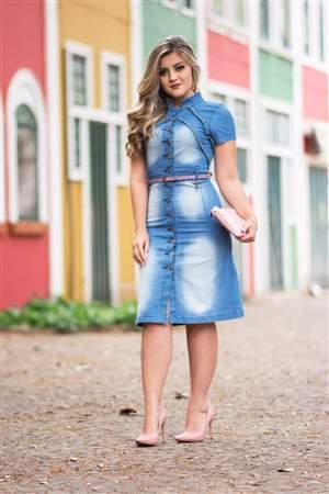Vestido Jeans Cinto Lilas - REF 14385