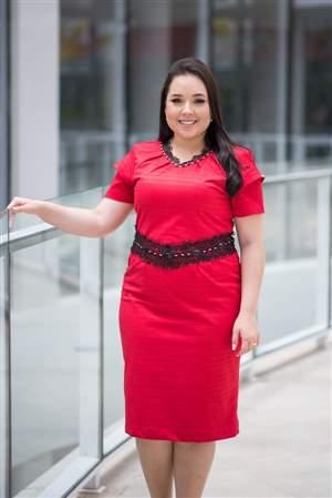 Vestido Piquete Vermelho e Coral  - 14905