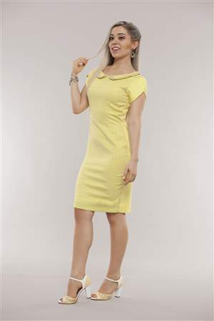 Vestido Amarelo Jacquard - REF 12150