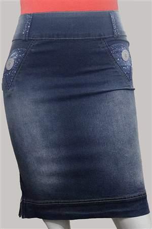 Saia Plus Jeans e Bolinhas  - REF 12185