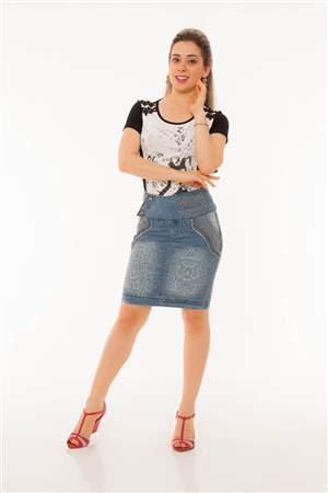 Saia Jeans Estampada  - REF 12010