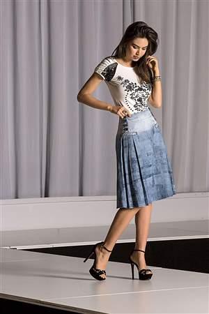 Saia Midi Jeans Estampado - REF 12875