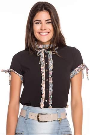 Camisa Crepe Vista Babado Floral  - REF C2625