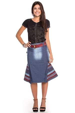 Saia Jeans e Vermelho - REF 13770