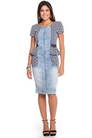 Vestido Jeans Peplum - REF 13755