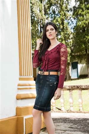 Saia Jeans Presponto e Cinto Caramelo - REF 13995