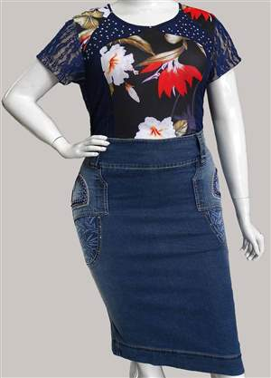Saia Plus Jeans Bordada - REF 11735