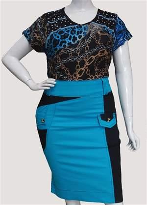 Saia Plus Azul e Preto - REF 11970