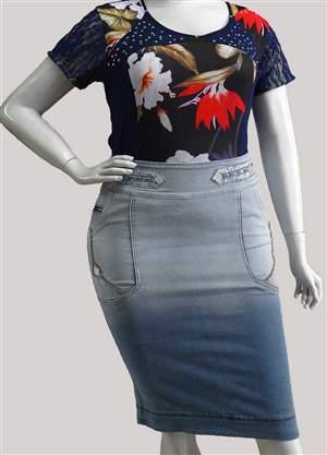 Saia Plus Jeans Cristal - REF 11740