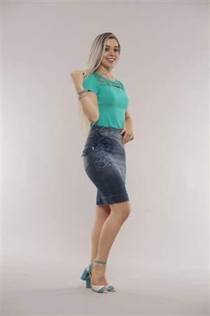 Saia Jeans Cintura Alta - REF 11750