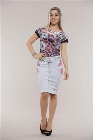Saia Jeans e Renda Pink - REF 11725
