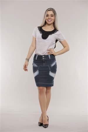 Saia Jeans bordado Perolas - REF 11845