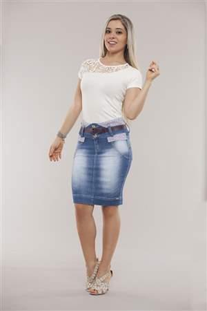 Saia Jeans Cinto Berinjela - REF 11835