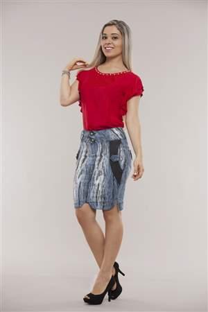 Saia Jeans Fluid Resinada - REF 12035