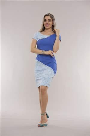 Vestido Azul Bengaline - REF 12140