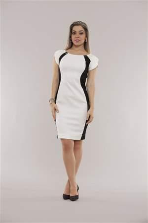 Vestido Branco e Preto - REF 12165