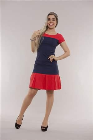 Vestido Azul e Vermelho - REF 12265